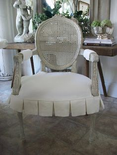 White Pleated Slipcover for seat of French Chairs From Full Bloom Cottage