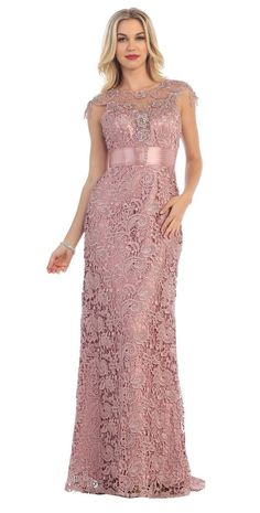 this long formal mother of the bride dress is made from a vintage lace fabric great for formal events and its available in plus sizes