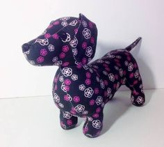 Doxie Dachshund Weanie dog smooth black pink floral cloth stuffed animal toys sold thank you