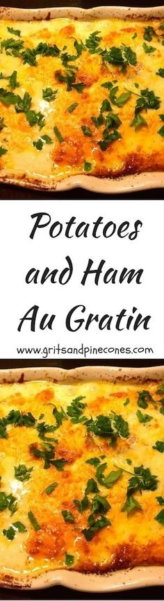 Potatoes and Ham Au Gratin is a cheesy dish of deliciousness which is perfect for a quiet weeknight family dinner, yet fancy enough to serve to your guests. via @http://www.pinterest.com/gritspinecones/