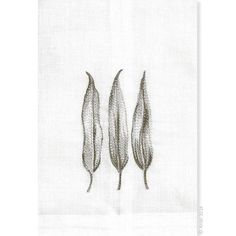 Eucalyptus Linen Towels Finely detailed embroidered thread paintings for which Anali is so well known. Anali's Eucalyptus design is embroidered on white linen guest towels.