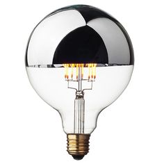 Silver crown LED Globe light bulb G125 with a half top mirrored surface and vintage style exposed filaments. Fully dimmable and uses up to 80% less power than the conventional incandescent light bulbs. Worldwide Shipping