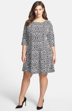 Taylor Dresses jacquard Knit Fit & Flare Dress (Plus Size) available at #Nordstrom