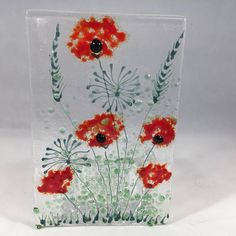 Floral Glass Plaque Candle Display Red Poppies Fused