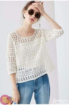 The weather& warming up. We have prepared a wonderful project. We continue with summer knitting models. Crochet blouse models have construction. Pull Crochet, Gilet Crochet, Crochet Shirt, Crochet Cardigan, Crochet Lace, Crochet Stitches, Free Crochet, Crochet Patterns, Black Crochet Dress