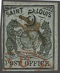 United States St. Louis 'Bear'. 1846: 5 c. black on grey lilac paper, used example with large margins on three sides and imperceptibly touched at upper le...