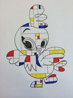 Dieren tekenen in stijl van Mondriaan
