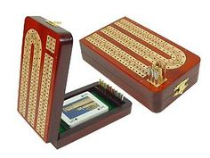 $82.95 Continuous Folding Cribbage Board - 3 Tracks inlaid with Blood Wood / Maple