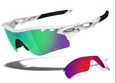 caca0cf4f4 Oakley Radarlock with jade iridium lenses and fire iridium lenses.  Customize on Oakley.com