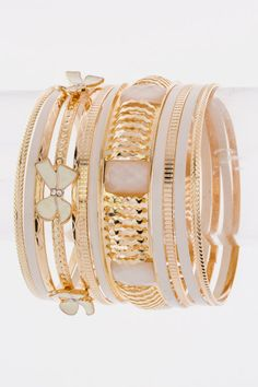 Mixed Bangle Bracelet Set (White)