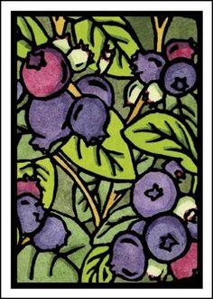 Blueberries Card - Fruit Image - Sarah Angst Fine Artist & Printmaker, original art created in Bozeman, Montana - www.sarahangst.com #sarahangst