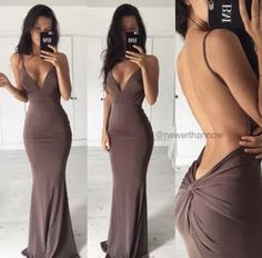 Brown long plunge backless dress