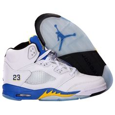 Pre-owned Nike Air Jordan 5 Retro Laney Varsity Blue/ Yellow/ White/... ($141) ❤ liked on Polyvore featuring shoes, pre owned shoes, black shoes, yellow shoes, kohl shoes and nike footwear