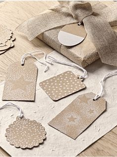 Dot & Star Gift Tags - Wrap and Tags - Christmas Luxury Christmas Wrapping Paper, Paper Bag Gift Wrapping, Noel Christmas, Christmas Gift Tags, Star Gift, Xmas Crafts, Wraps, Craft Making, Gift Ideas