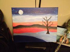 Night time landscape Night Time, Paintings, Landscape, Simple, Art, Craft Art, Painting, Kunst, Gcse Art