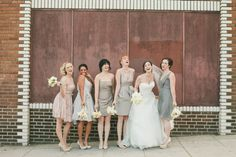 Bridesmaids in mismatched grey and blush dresses {via onewed.com}