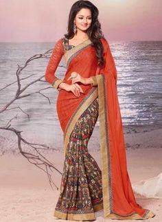 Orange Grey Border Work Georgette Fancy Half N Half Printed Designer Sarees  #Wedding #Bridal #designer #Saree       http://www.angelnx.com/Sarees