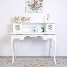 Shabby Cottage Chic White Mesh Writing Desk with Roses French Vintage Style Office Furniture