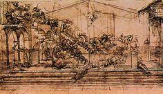 """""""Perspectiva para la Adoración"""", inchiostro di Leonardo Da Vinci (1452-1519, Italy)"""