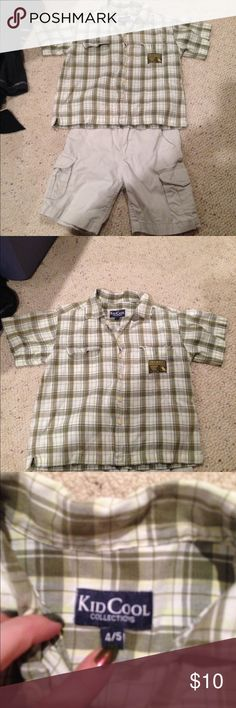 Tan shorts with button down shirt Cute plaid shirt size 4/5 and tan shorts size 4. Both on great condition Matching Sets
