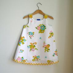 Granny's Attic Mustard Flower Toddler Dress - size 3T - Children's Clothing from Vintage Fabric