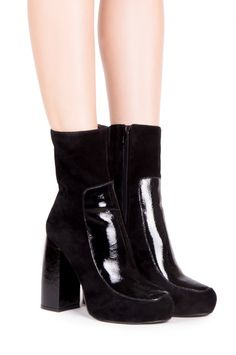Jeffrey Campbell Shoes TRAYNOR New Arrivals in Black Suede Black Patent