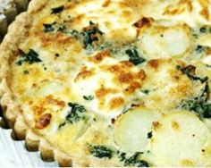 Get Sausage, Spinach and Potato Tart Recipe from Food Network Tart Recipes, Brunch Recipes, Gourmet Recipes, Breakfast Recipes, Cooking Recipes, Vegetarian Tart, Vegetarian Recipes, Healthy Recipes, Cheese Tarts