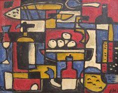 "Jonio Montiel ""Constructivo"" Óleo sobre fibra 59 x 75 cms. http://www.portondesanpedro.com/ver-producto.php?id=11222"