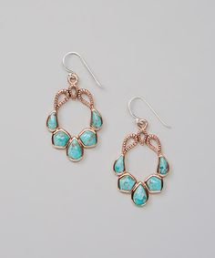 Turquoise & Copper Drop Earrings | Barse