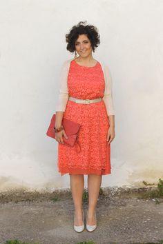 orange, arancio, lace dress, curvy, plus size, what to wear for a wedding party, come vestirsi a un matrimonio, vestito arancione, smash rim...