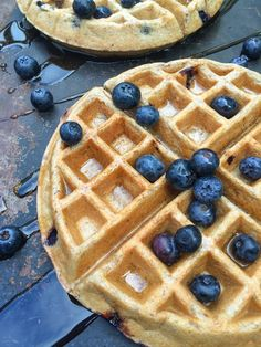 Fluffy on the inside, crispy on the outside, these Blueberry Greek Yogurt Waffles are packed with protein and whole grains.