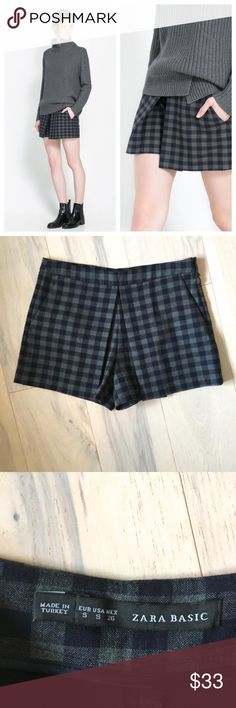 Zara checked pleated skort Super cute play on a plaid mini skirt from Zara. Pleated panels at front create a skort style, but are shorts. Dark gray and navy blue check pattern. Size S. Zara Shorts Skorts