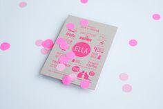 ELLA letterpress birth announcement in popping pink with confetti by studio sijm