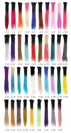 Jamaica Handmade Dreadlocks, Ombre Multi-color, 39 colors Optional, dreadlock dreads hair, packaging options: 10 strands/pack or 20 strands/pack. Braided Dreadlocks, Dread Braids, Synthetic Dreadlocks, Faux Locs Colored, Colored Dreads, Ombre Faux Locs, Braids With Extensions, Braids With Weave, Dreadlock Extensions