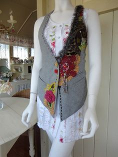 Items similar to Embellished Wool Fabric Vest, Boho,Upcycled Clothing, on Etsy ayfer Embellished Woo Wool Vest, Altered Couture, Bohemian Mode, Vest Pattern, Clothes Crafts, Wool Fabric, Unique Outfits, Refashion, Boho Fashion
