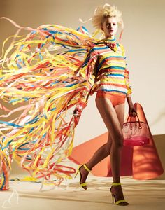 §Creative and colorful paper dress by Matthew Brodie & Hattie Newman for Madame. / #fashion