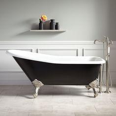 "66"" Goodwin Cast Iron Clawfoot Tub - Imperial Feet - Black - Clawfoot Tubs - Bathtubs - Bathroom"