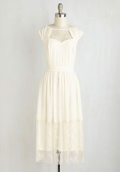 Your Good Graces Dress - Solid, Lace, Wedding, Graduation, Bride, A-line, Sleeveless, Ruching, Long, Special Occasion, Cream, Summer