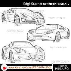 Sports Cars7/ Black & White /Digital Images/ Clipart Elements Set / 3 PNG/JPG / For Personal and Commercial use/ Clip Art/ Instant Download by REDWHALEart on Etsy