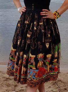 Vintage novelty print skirt
