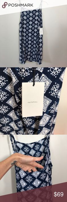"""NWT Faithfull the Brand Royals Dress New with tags. Faithfull the Brand Royals Dress in woodblock print - can't find this print anywhere. One of a kind. Size Sm. Measurements are approximate: 18"""" across chest. 31"""" shoulder to hem length. 12"""" arm openings. Adjustable shoulder straps. Faithfull the Brand Dresses"""