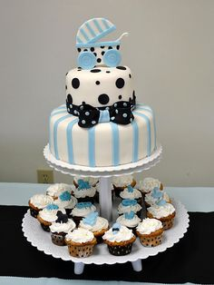 Black and blue baby shower cake