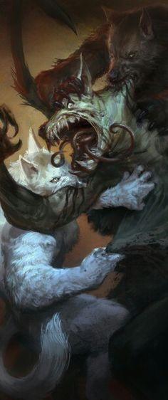 Pelea mortal de hombres lobo