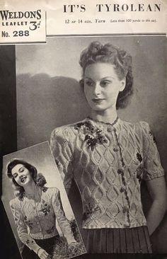fafe800252 1940s Weldons 288 Knitting Pattern Women s Tyrolean Cardigan Rare Flowers  PDF