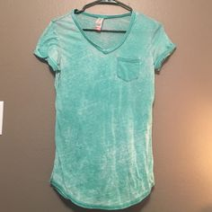 No Boundaries Tee from Target. Teal v-neck tee, acid wash design, purposely made to look worn. Pocket on the left side of the shirt. Perfect condition. No Boundaries Tops Blouses