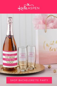 "Whether you're getting the girls together for brunch, having a sip & paint night, or partying the night away to celebrate the bride-to-be, your bottles will add to your décor with fun designs and sayings like ""We're on cloud wine!"" and ""He popped the question, we're popping bottles!"". 