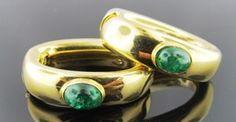 Ferro Jewelers - Estate Jewelry | 18ky 1.75ctw Emerald cab hoop earrings