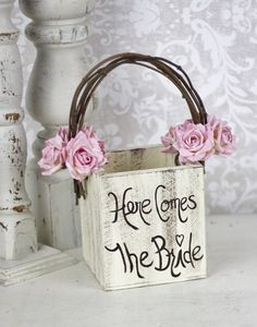 Flower Girl Basket Rustic Wedding Decor Pink Paper...this would b cool to make