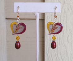 Arizona State Playing Our Hearts Out Maroon Swarovski Pearl and Gold Crystal Leverback Earrings by scbeachbling on Etsy