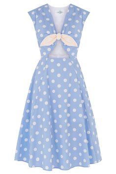 Tara Starlet: The Peekaboo Dress - Blue Spot | Polkadot pastel blue cut-out dress 100% cotton pin up girl style vintage retro inspired.